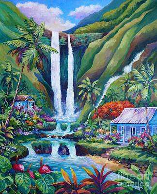Rainforest Painting - Paradise Falls by John Clark