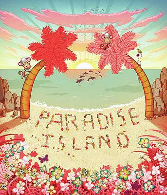 Cockatoo Wall Art - Digital Art - Paradise Island Written In Pebbles On by Andy Ward