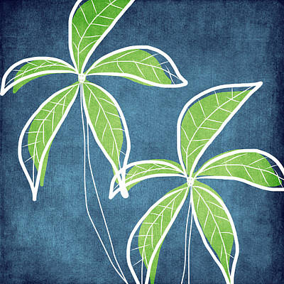 Leaf Green Painting - Paradise Palm Trees by Linda Woods