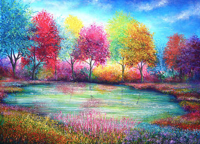 Deer Painting - Paradise Pond by Ann Marie Bone