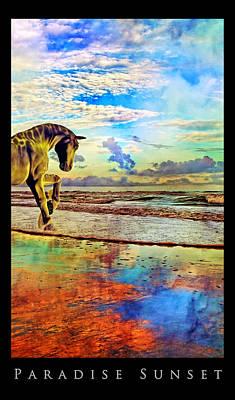 Surrealism Mixed Media Rights Managed Images - Paradise Sunset Royalty-Free Image by Betsy Knapp