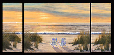 Painting - Paradise Susnet Triptych by Diane Romanello
