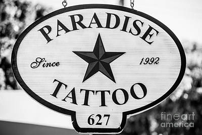 Paradise Tattoo Key West - Black And White Art Print