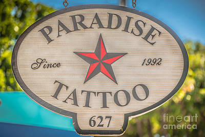 Paradise Tattoo Key West - Hdr Style Art Print