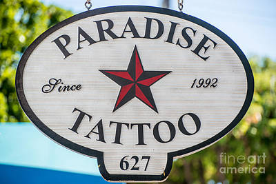 Multi Colored Photograph - Paradise Tattoo Key West  by Ian Monk