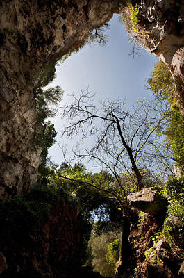 Classical Masterpiece Still Life Paintings - paradises door - Cova des Coloms - Es Migjorn in center of Menorca is an enormeous cave by Pedro Cardona Llambias