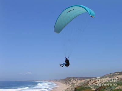 Paraglider Over Sand City Art Print
