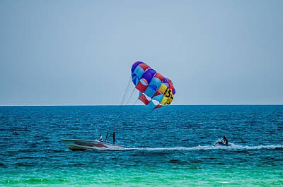 Photograph - Paragliding Above The Sea by Alex Grichenko