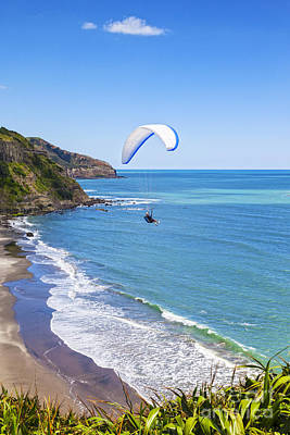 Paragliding At Maori Bay Auckland Print by Colin and Linda McKie