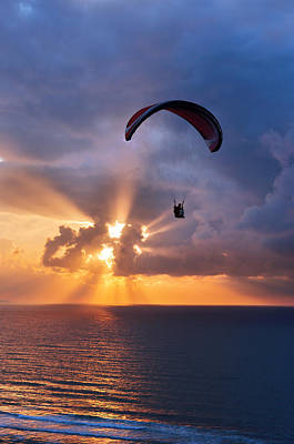 Paragliding At Sunset On Sea With Sun Beams Print by Mikel Martinez de Osaba
