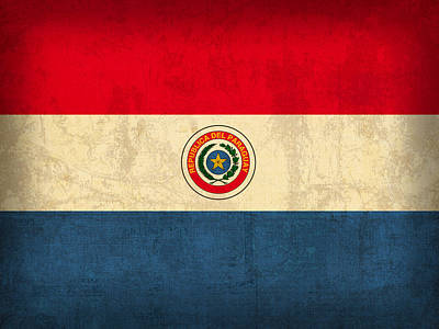 Flag Mixed Media - Paraguay Flag Vintage Distressed Finish by Design Turnpike