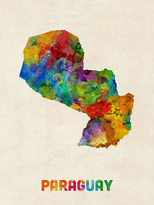 South America Digital Art - Paraguay Watercolor Map by Michael Tompsett