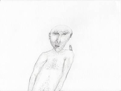 Parakeet Drawing - Parakeet On Shoulder by Jim Taylor