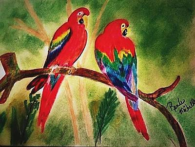 Parakeets In Paradise Art Print