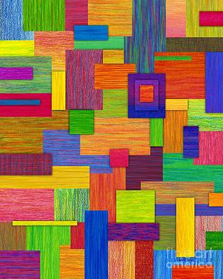 Colored Pencil Abstract Painting - Parallelograms by David K Small