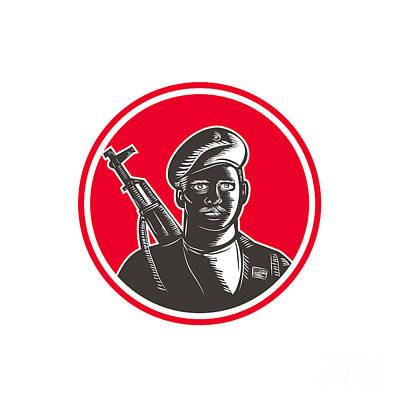 Digital Art - Paramilitary Wearing Beret Rifle Woodcut by Retro Vectors