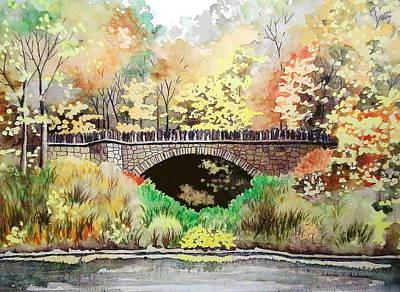 Parapet Bridge - Mill Creek Park Art Print by Laurie Anderson