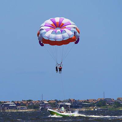Kite Photograph - Parasailing At Roanoke 2 by Cathy Lindsey
