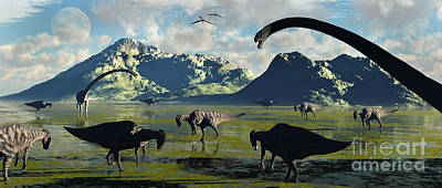Aquatic Digital Art - Parasaurolophus And Sauropod Dinosaurs by Mark Stevenson