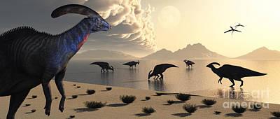 Parasaurolophus Dinosaurs Gather Art Print by Mark Stevenson