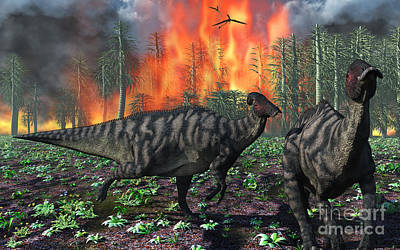 Parasaurolophus Duckbill Dinosaurs Art Print by Mark Stevenson