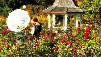 Photograph - Parasol In Rose Garden by Mindy Bench