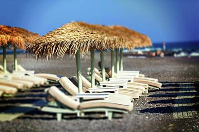Parasols And Sunloungers Art Print by Wladimir Bulgar