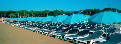 Parasols With Lounge Chairs Art Print by Panoramic Images