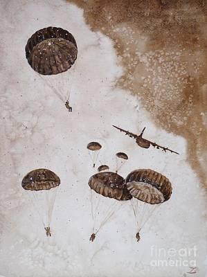 Paratroopers Art Print by Zaira Dzhaubaeva