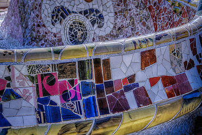 Antoni Gaudi Wall Art - Photograph - Parc Guell Trencadis by Joan Carroll