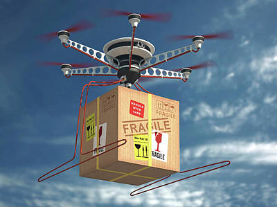 Delivering Photograph - Parcel Delivered By Drone by Ktsdesign