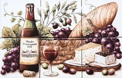 Pardo Vineyards Wine And Cheese Art Print by Julia Sweda
