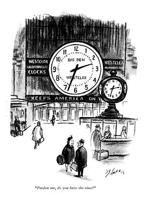 The Big Man Drawing - Pardon Me, Do You Have The Time? by Joseph Farris