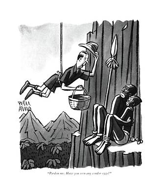 Searching Drawing - Pardon Me. Have You Seen Any Condor Eggs? by Peter Arno