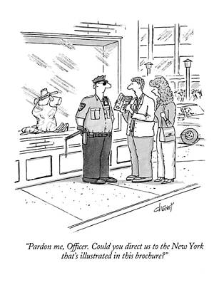 Cop Drawing - Pardon Me, Officer.  Could You Direct by Tom Cheney