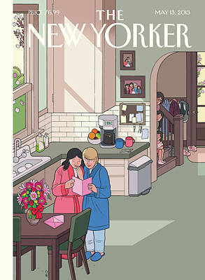 Lesbian Painting - Parents Read Their Mothers' Day Cards by Chris Ware