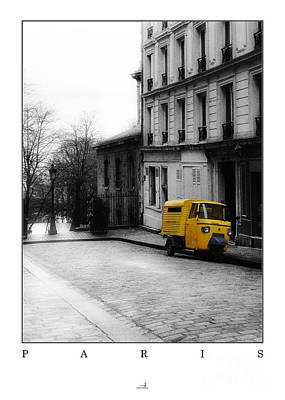 Paris - Yellow Car Art Print by ARTSHOT - Photographic Art