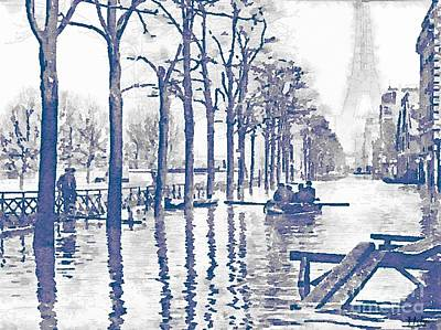 Paris Skyline Paintings - Paris 1910 Great Flood of Paris by Helge