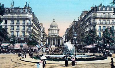 Paris 1910 Rue Soufflot And Pantheon Art Print