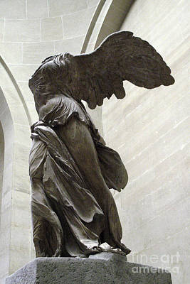 Louvre Photograph - Paris Angel Louvre Museum- Winged Victory Of Samothrace by Kathy Fornal