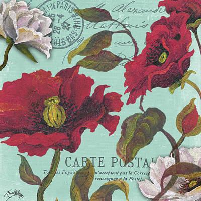 Type Mixed Media - Paris Aqua Flowers I by Elizabeth Medley