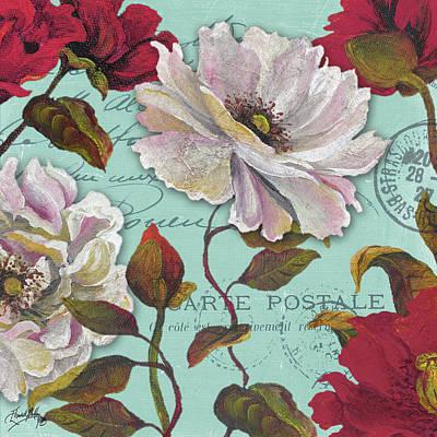 Type Mixed Media - Paris Aqua Flowers II by Elizabeth Medley