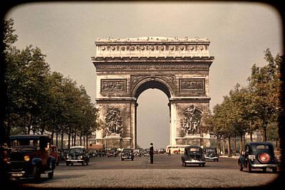 Vintage Europe Photograph - Paris Arc De Triomphe 1949 by Eric  Bjerke Sr