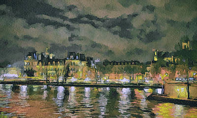 Old Town Digital Art - Paris At Night by Yury Malkov