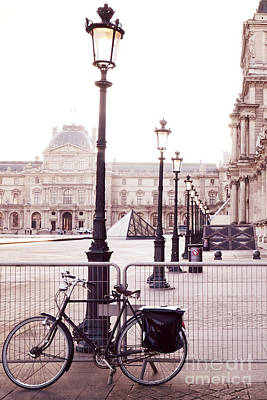 Paris Bicycle Louvre Museum - Paris Bicycle And Street Lantern - Paris Romantic Bicycle Fine Art Art Print by Kathy Fornal