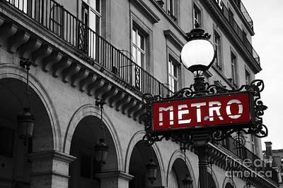 Photograph - Paris Black And White Metro Sign Photo - Paris Metro Sign Architecture Art Deco by Kathy Fornal