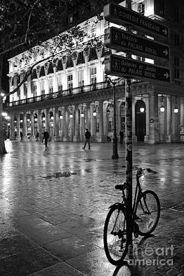 Paris Black And White Palais Royal Rainy Night - Paris Bicycle Street Photography Print by Kathy Fornal