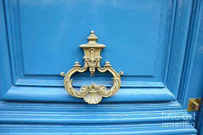 Paris Blue Door Brass Knocker - Parisian Royal Blue Doors And Brass Paris Door Knockers Print by Kathy Fornal