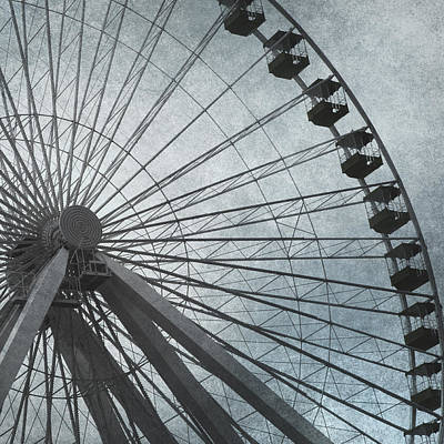Paris Skyline Royalty-Free and Rights-Managed Images - Paris Blue Ferris Wheel by Evie Carrier