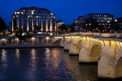 Paris Blue Hour - Pont Neuf Bridge And La Samaritaine Print by Georgia Mizuleva